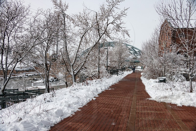 South Platte River bikepath flanked with snow on a quiet winter morning. photo