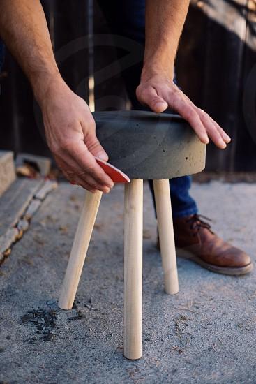 grey wooden stool photo