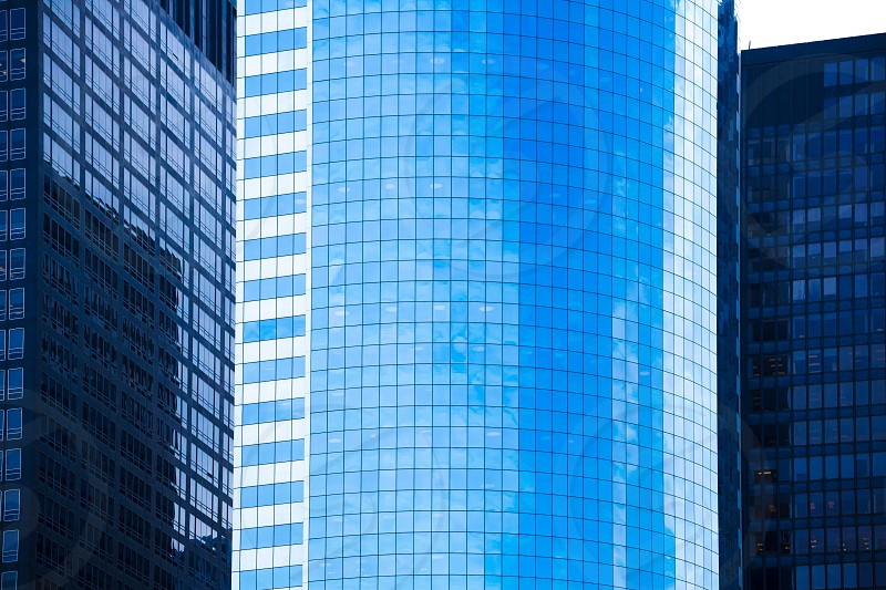 Lower Manhattan mirror skyscrapers blue textures NYC New Yourk USA photo