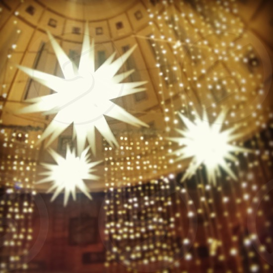 Starburst Christmas Light Decorations Faneuil Hall Boston MA photo