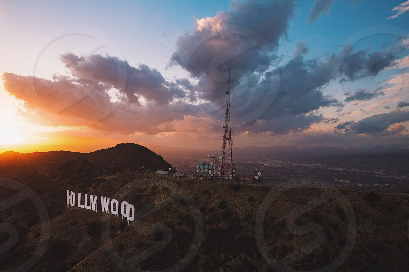 Aerial image of the famous Hollywood Sign at sunset photo