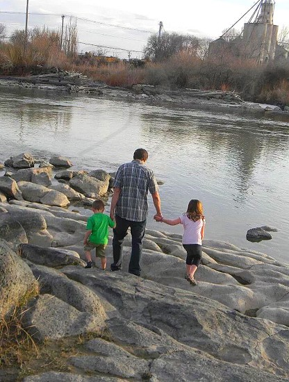 father; love; river; children; special moment; admire; adore; hero photo