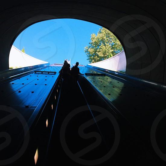 Escalator underground silhouette photo