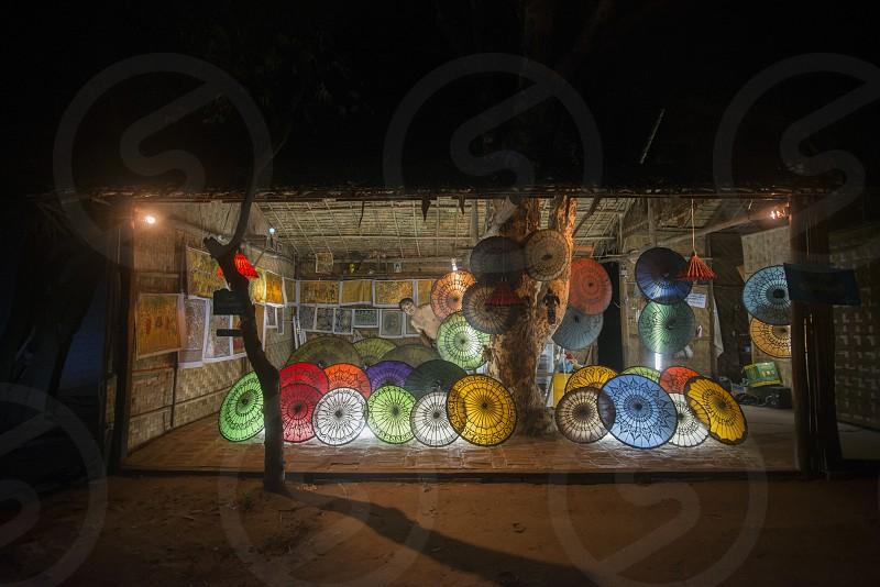 a Umbrella Souvenier Shop in New Bagan in Myanmar in Southeastasia. photo