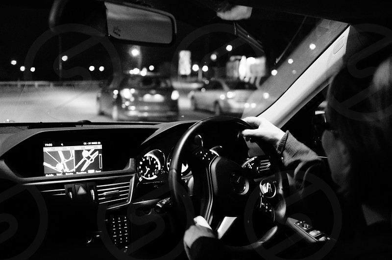 Mercedes car premium black & white B&W striking chrome photo