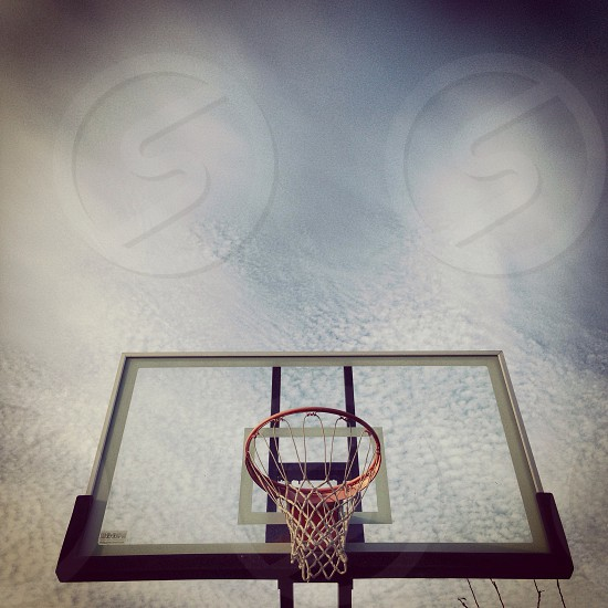 white and red basketball ring view  photo