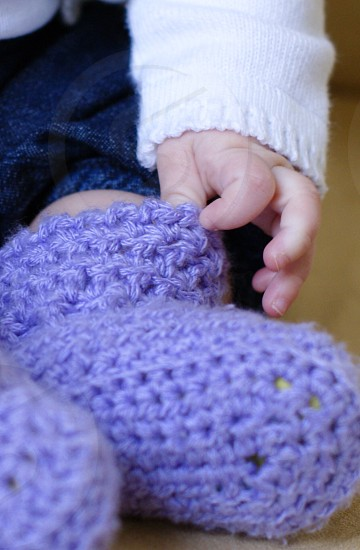purple knit baby booties photo