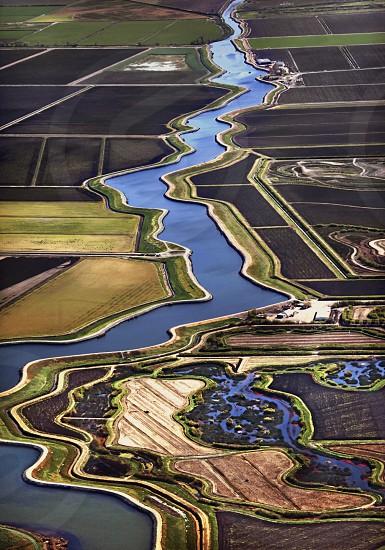 sky view river farm photo