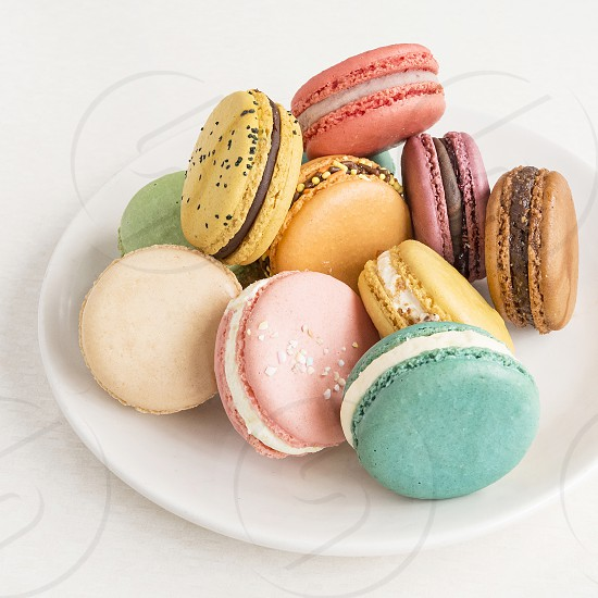 Parisian Macaroons in pastel colors. photo