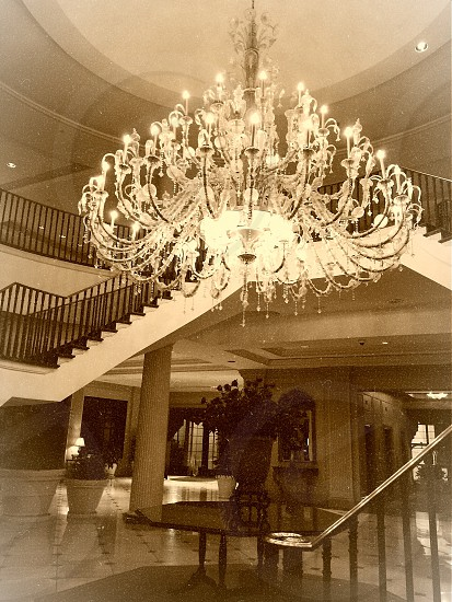 Charleston South Carolina large chandelier architecture crystal chandelier photo in sepia photo