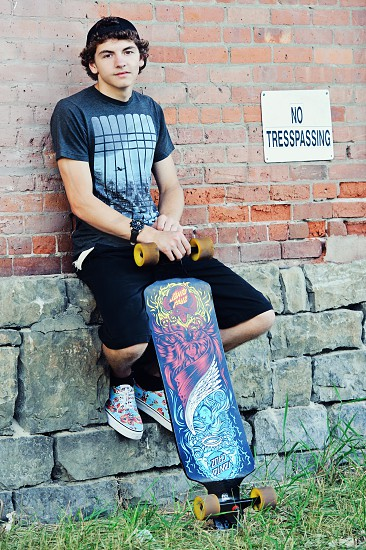 Male Portrait with Skateboard photo