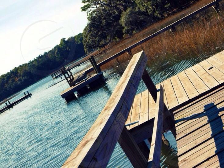 footbridge near lake photography  photo