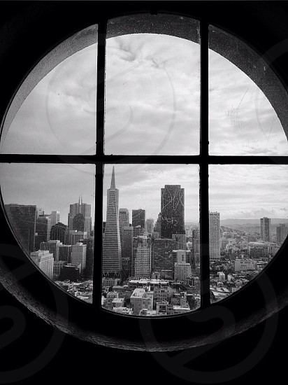 city view in black and white view photo