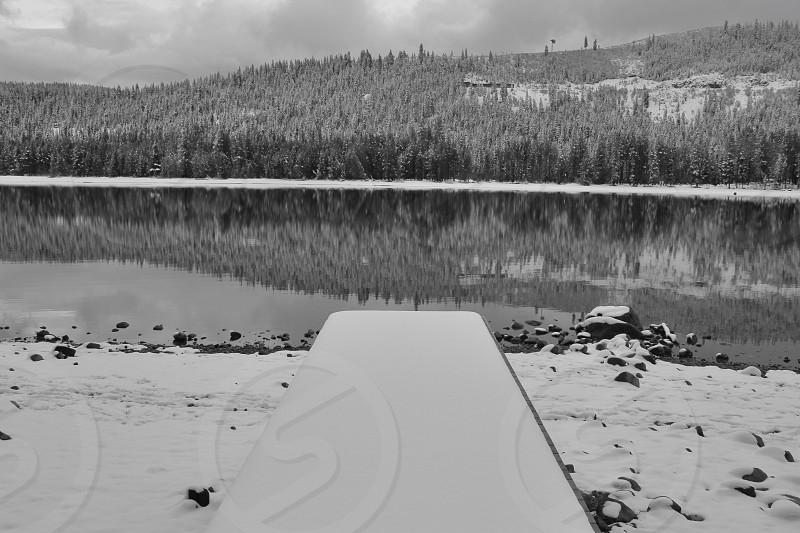 black and white photo of lake photo