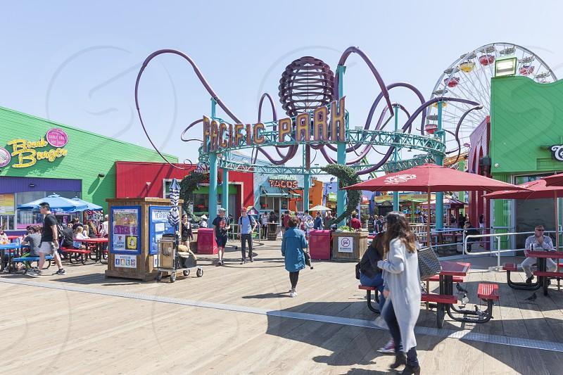 Santa Monica Pier & Pacific Palisades Bluff. Santa Monica CA photo