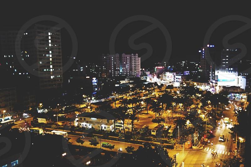 vietnam saigon aerial center city night culture travel ho chi minh urban buildings park asia city life photo