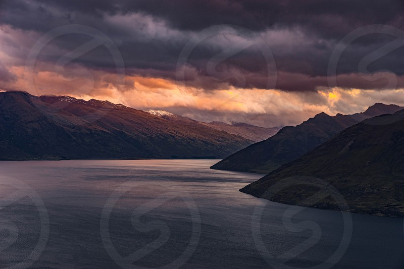 A view from Queenstown New Zealand at sunset. photo