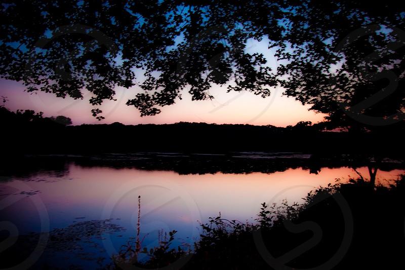 Sunset landscape nature reflection silhouette  photo
