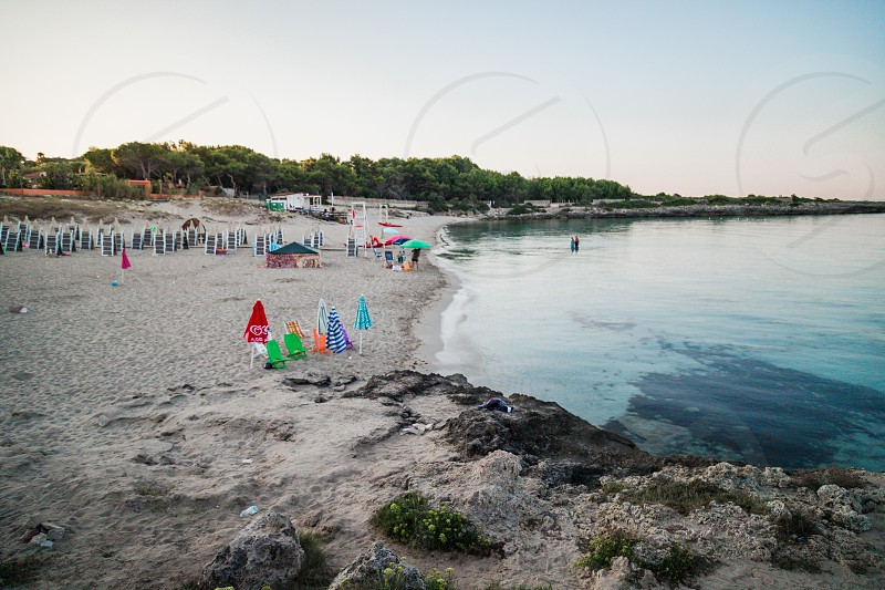 Montedarena Italy - August 2019: Montedarena beach in Puglia on a morning in August photo