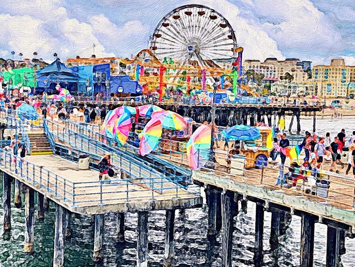 Colorful and Iconic Landmark Santa Monica Pier and Palisades Park Watercolor Photography Umbrellas Ferris Wheels Artworks People Wood Beach Seaside Palisades  photo