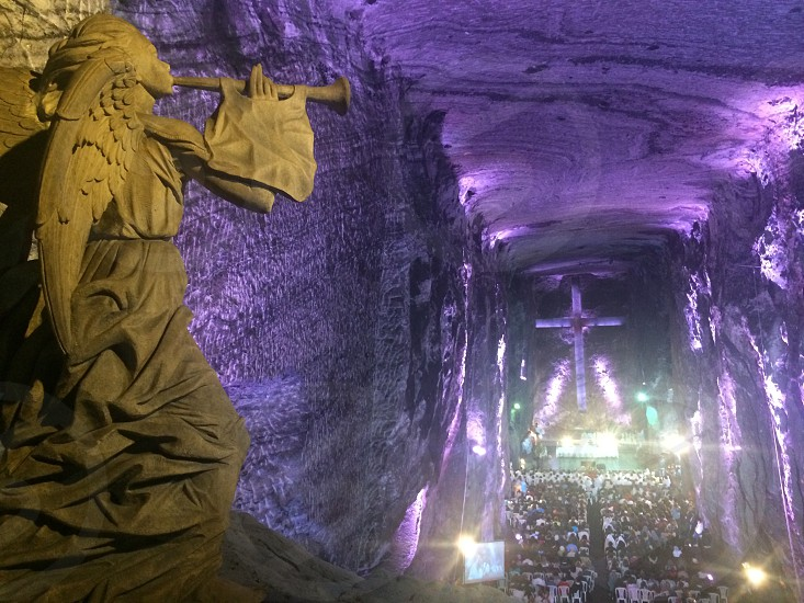 Salt mine cathedral view from the choir loft outside Bogota Colombia photo