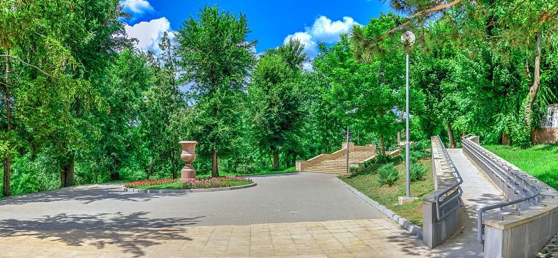 Chisinau Moldova – 06.28.2019. Cascading stairs or Scara Cascadelor near the Valea Morilor Lake in Chisinau Moldova photo