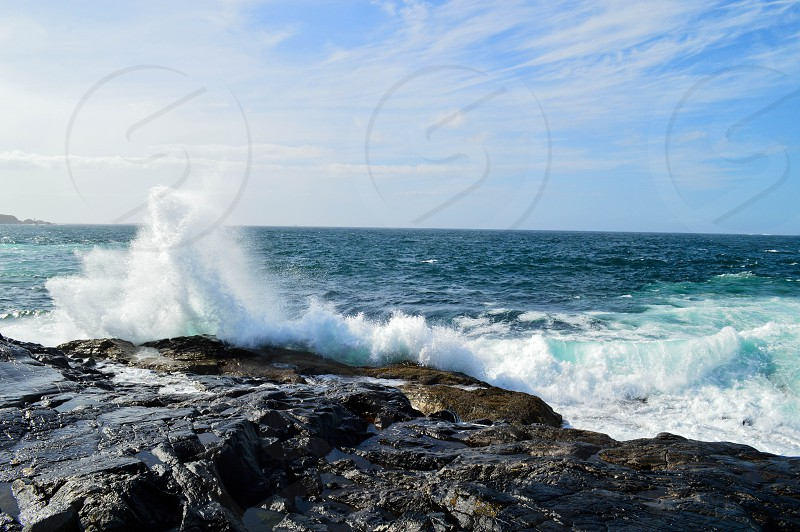 Crashing waves Norway west coast photo