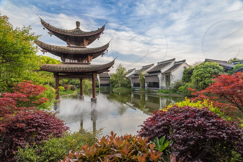 Pagoda Banyantree hotel spring park lake feng shui China Hangzhou photo