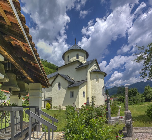 Kolasin Montenegro - 07.16.2018.  Orthodox monastery Moraca. One of the most popular places to visit tourists  in Montenegro. photo