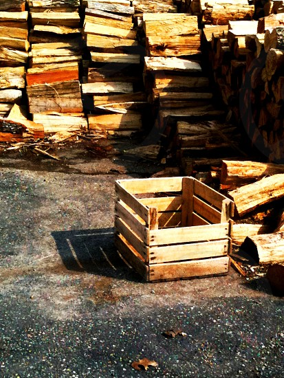Wooden Crates Chopped Wood Indianapolis city scape photo