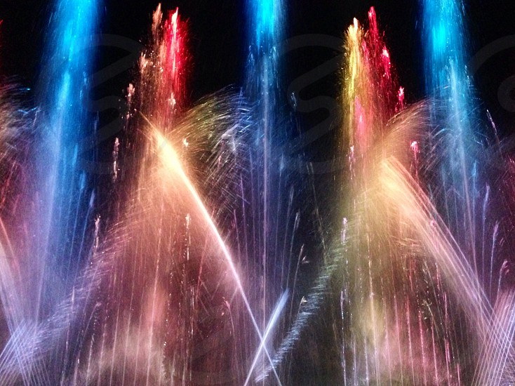 fountain with light night view photo