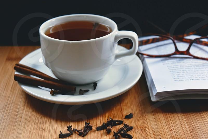 Glasses coffee book tea photo