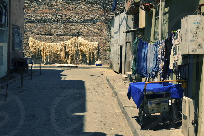 Drying stuffing in streets of Istanbul photo