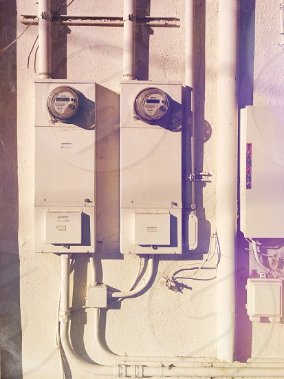 black and white electric meter photo