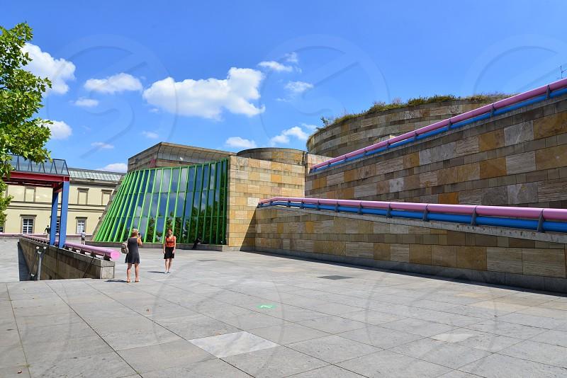 Exterior of famous Post-modern architecture Staatsgalerie Stuttgart in Stuttgart Germany photo