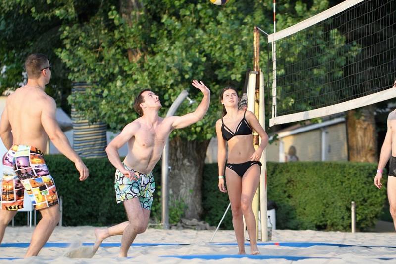 Summer beach volleyball game fun activities guys vacation holiday  photo