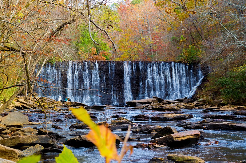 Waterfall nature fall autumn woods leaves water colors peaceful serenity  photo