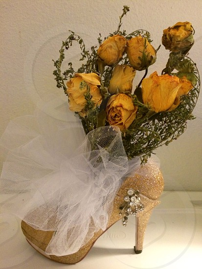 My wedding shoes and bouquet. photo