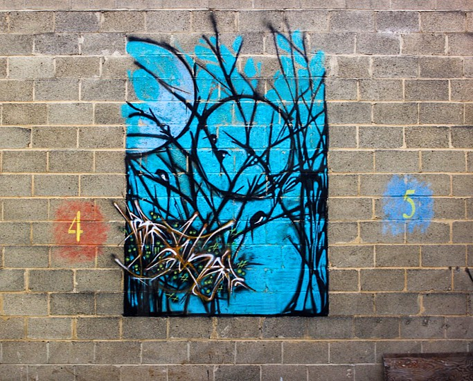 brown and white bird on black dried trees painting with white and brown artist signature photo