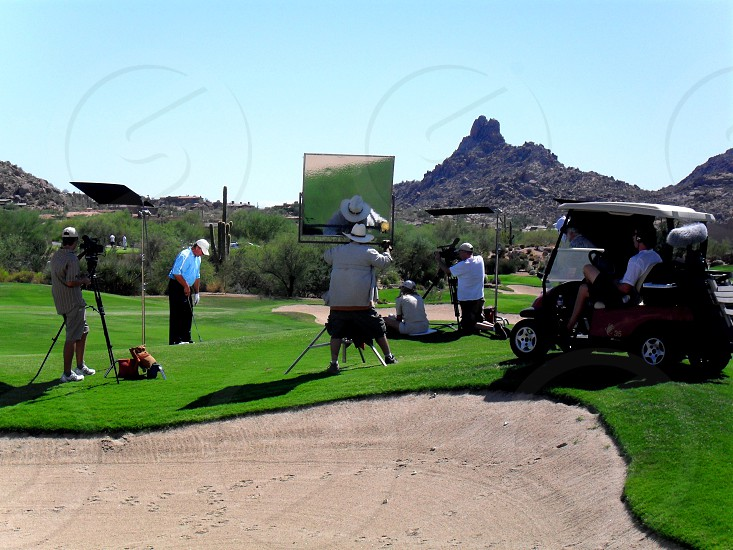 Golf Course Shoot with Mountain in Desert in background photo