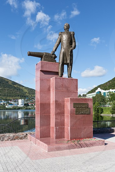 PETROPAVLOVSK-KAMCHATSKY KAMCHATKA RUSSIA - SEP 07 2015: View of the monument to the first Military Governor of Kamchatka V. S. Zavoiko in the city of Petropavlovsk-Kamchatsky in Russian Far East. photo