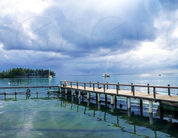Lake Dock Boats Tranquility Blue photo