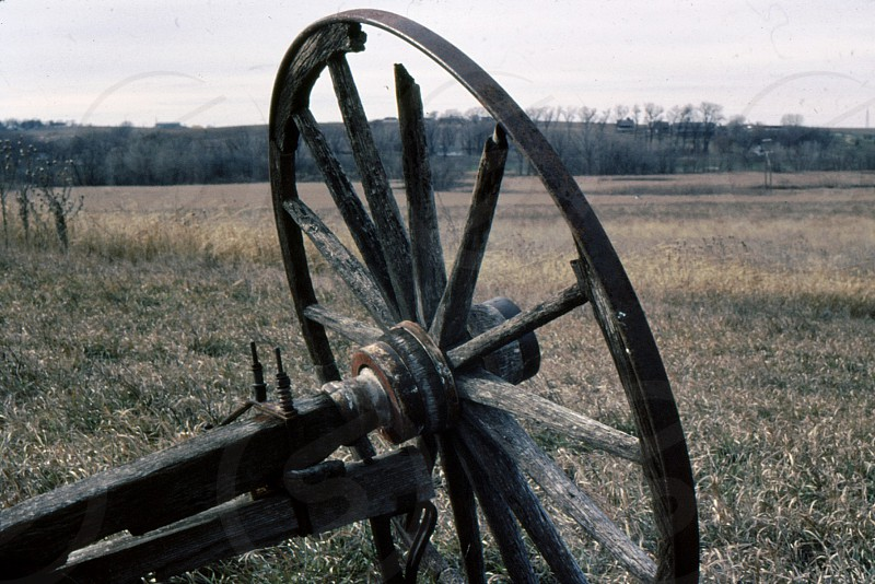 Nebraska wagon wheel. West of Omaha 1968. photo