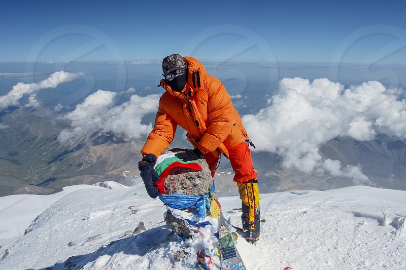 On top of the summit of Mt. Elbrus in Russia photo