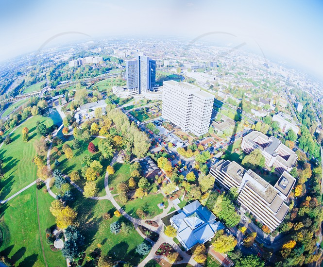 """Fisheye aerial view of Dortmund Germany Europe cityscape from """"Florian"""" or """"Florian tower"""" Dortmund's TV tower in Westphalia Park (Westfalenpark) photo"""