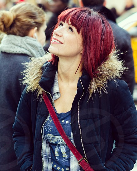 New York NYC clear eyes tourist awe happy joy exploring discover girl redhead pretty winter photo