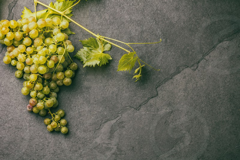 Grape and corkscrews wine concept Stone background top view. photo