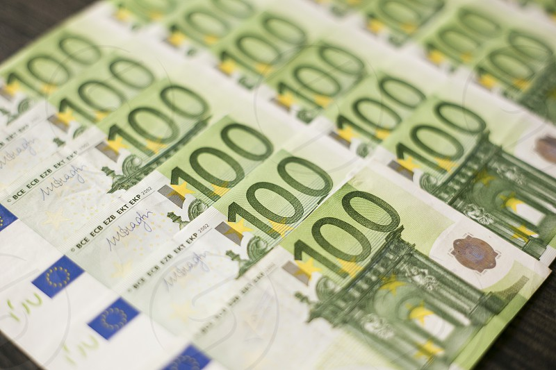 close up of one hundred euro bank notes  photo