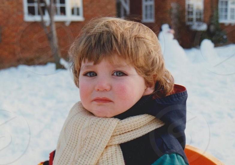 Child winter snow snowman photo