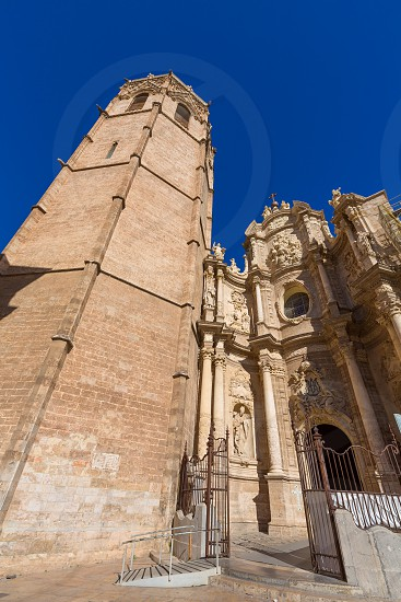 Valencia cathedral and Miguelete in plaza de la Reina square Spain photo